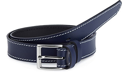 Ladeheid cintura per bambini in 100% vera pelle k1d5 (blu marino/bianco, 60 cm (lunghezza totale 79 cm))