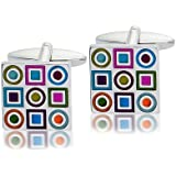 Code Red Multi Colour with Patterns Fashion Base Metal Cufflinks