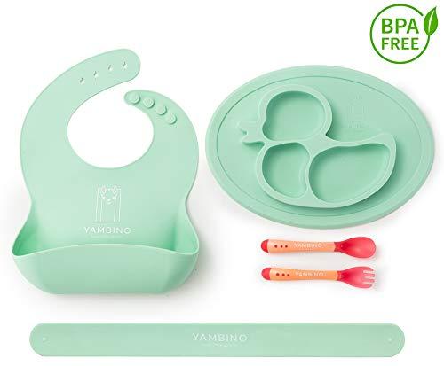 Set di stoviglie per bambini senza BPA - Esperienza alimentare senza fuoriuscite - Piatti per bambini, bavaglini con vaschetta raccogli-gocce e posate - set pappa svezzamento YAMBINO (Turchese)