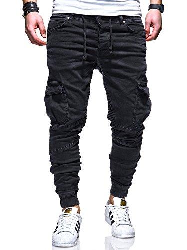 MT Styles Herren Biker Jogg-Jeans Hose RJ-3207 [Schwarz, W34/L32]