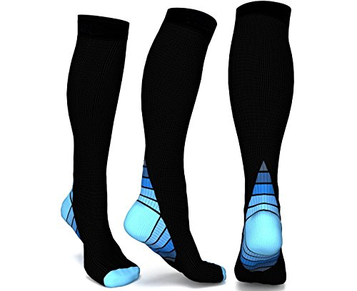 Compression Socks & Stockings 1 Pair-Graduated Support Muscle and Sports Sleeves for Running,Long Flights,Cycling,Hiking,Flying,Nurse or Pregnancy-Relieving Muscle Ache and Quicking the Recovery Speed,Men & Women Test