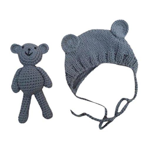 Familizo Photographie de Bébé Nouveau-né Prop Photo Mignon Crochet Knit Costume Ours Toy + Ensemble de Chapeau (0-6Mois, Gris)