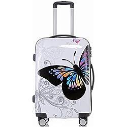 BEIBYE Reisekoffer Hartschalen Hardcase Trolley Zahlenschloss Polycarbonat SET-XL-L-M- Beutycase (Butterfly, M(Handgepäck))