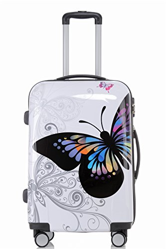 Reisekoffer 2060 Hartschalen Trolley Kofferset in 12 Motiven SET--XL-L--M-- Beutycase (Butterfly, XL)