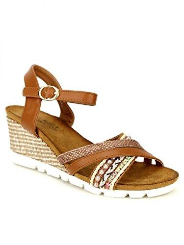 Cendriyon, Compensée Camel OMODAS Chaussures Femme Caramel
