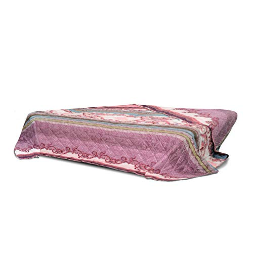 WOMETO XXL Tagesdecke Bettüberwurf Wohndecke Steppdecke 220x240 Ornamente - lila rosa türkis OekoTex weich modern