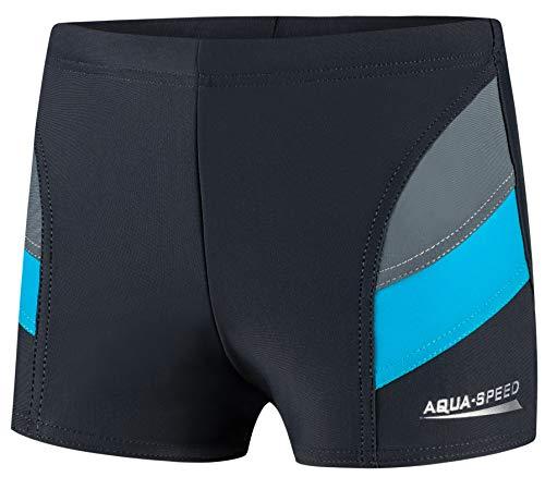 Aqua Speed Andy Jungen Badehose   Schwimmhose   104-152 cm   Modern UV-Schutz   Chlor resistent   Kordelzug, Farbe:06. Grau/Blau, Größe:134 cm