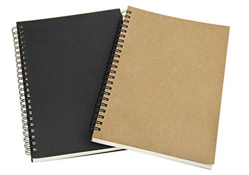 2 Stück Retro Skizzenbuch mit Spiralbindung säurefreies Zeichenpapier DIN A5 Skizzenblock mit Lesezeichen Hardcover 100 Seiten mit 100 g/m²