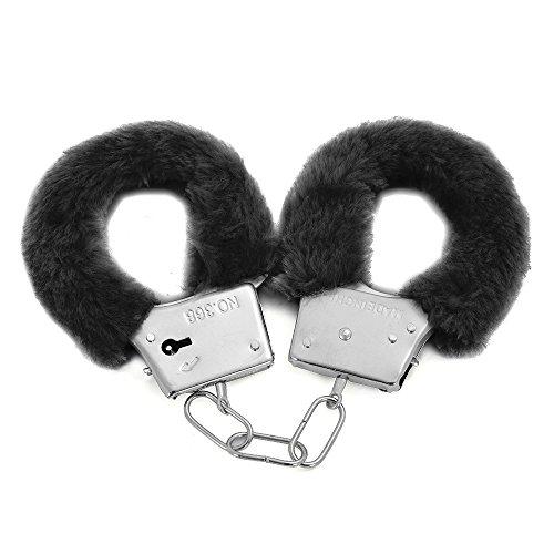 TRIXES Stabile erotische Handschellen aus Metall und Plüsch in Schwarz mit 2 (Kostüme Sexy Und Polizist Gefangener)