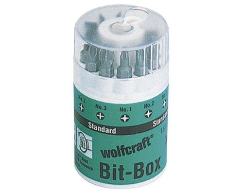 Wolfcraft 1575000 1575000-1 Caja Solid, con portapuntas magnético no. 2426000 y 9 Puntas Ranura 0,6x4,5 + 0,8x5,5 + 1,0x5,5 mm Phillips, Pozidriv no. 1 + 2 + 3, 1.0mm