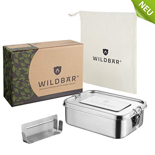 WILDBÄR® | NEU | Dichte Premium Edelstahl Brotdose als innovatives Set. BPA- und plastikfreie Lunchbox mit Flexibler Abtrennung und Naturbaumwollbeutel. Nachhaltig, ideal auch für Kinder -1200ml