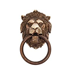 Bosetti Marella 100977.09 Brass Lion Door Knocker, 4.29-Inch by 7.48-Inch, Antique Brass Dark