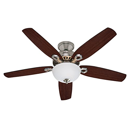 Hunter Fan 50571 Hunter Builder Deluxe Nickel brossé 132 cm Ventilateur de plafond avec éclairage, Acier, 65 W, 132 cm