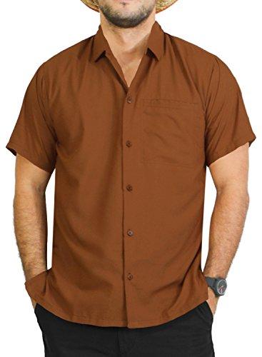 *la leela* shirt camicia hawaiana uomo xs - 5xl manica corta hawaii tasca-frontale stampa hawaiano casuale regular fit marroneplain xl