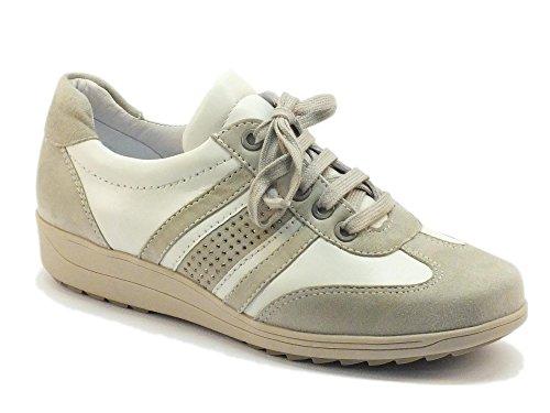 Sneakers Ara per donna in pelle bianca e camoscio grigio (Taglia 37)