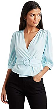 Solid Wrap Style Belted Puff Sleeves Top For Women Closet by Styli