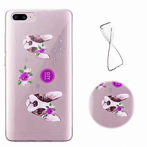 iPhone 8 Plus Hülle Transparent, MingKun Muster TPU Silikon Handytasche für iPhone 7 Plus/iPhone 8 Plus Handyhülle Thin Crystal Pattern Schutz Case Cover - Welpe