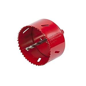 JinZhiCheng – Corona perforadora bimetálica (80 mm, con broca centradora y adaptador hexagonal), color rojo