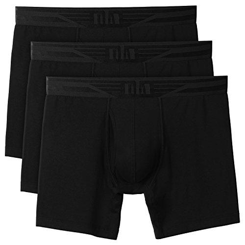 DA Herren Unterwäsche Soft Baumwolle Boxershorts mit Front Fly 3 Paar Schwarz