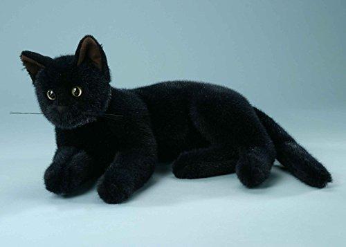 Hauskatze liegend, schwarz, Plüsch