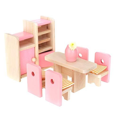 Generic Holz Esszimmer Puppenhaus Miniatur M?Bel Esstisch St¨¹hle Schrank Spielzeug Set Puppe Familie Pretend Play Zubeh?r f¨¹r Kinder