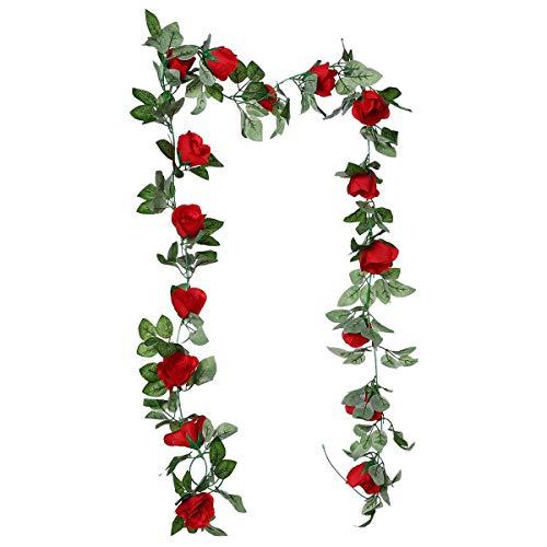 KOBWA Künstliche Blumenranken 2,2 m künstliche Hängepflanzen für Zuhause, Hotel, Büro, Hochzeit, Party, Garten, Handwerk, Kunst-Dekoration rot