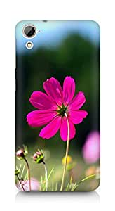 Amez designer printed 3d premium high quality back case cover for HTC Desrie 826 (Flower Red)