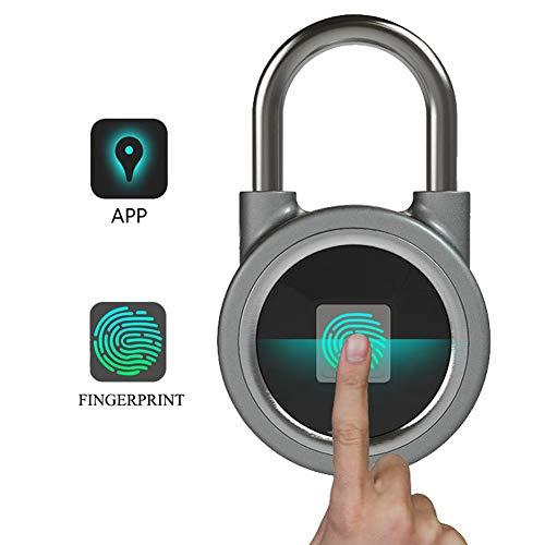 OMZBM Tragbarer Bluetooth-Fingerdruck Padlock, USB-Ladung Electronic Security Lock Biometric Lock Quick Access Ketless Metal, Anti-Theft Door Lock, Remote APP Unlock, Smart Tracking Lock,Gray Remote Door Unlock