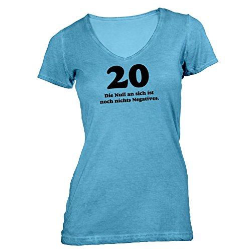 Damen T-Shirt V-Ausschnitt - Geburtstag 20 Jahre - Die Null ist nichts negatives - Fun Geschenk Birthday Hellblau