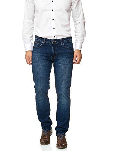 34l Jeans (Barbons Herren Jeans - Bügelleicht - Slim-Fit Stretch - Business Freizeit - Hochwertige Jeans-Hose 02-Blau 36W / 34L)