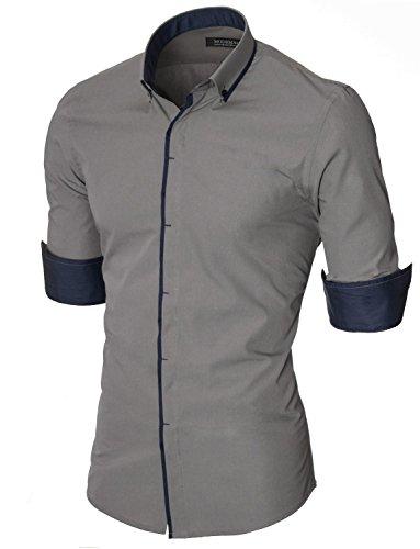MODERNO Herren Hemd Slim Fit Casual Langarm Button Down Kragen (MOD1445LS) Grau