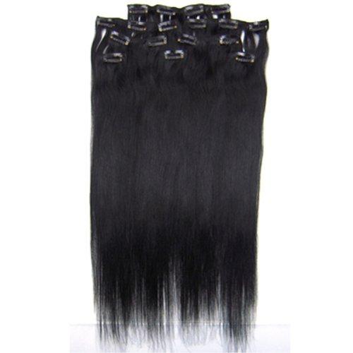 100% cheveux remy Lot de 8 50,8 cm Jet Noir (# 01) droite cheveux clip dans Extension de cheveux Poids : 100 g