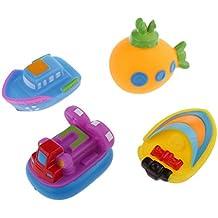 4pcs Juguetes Juegos Baño Agua Vinilo Goma Diseño Barco Bebé Niños