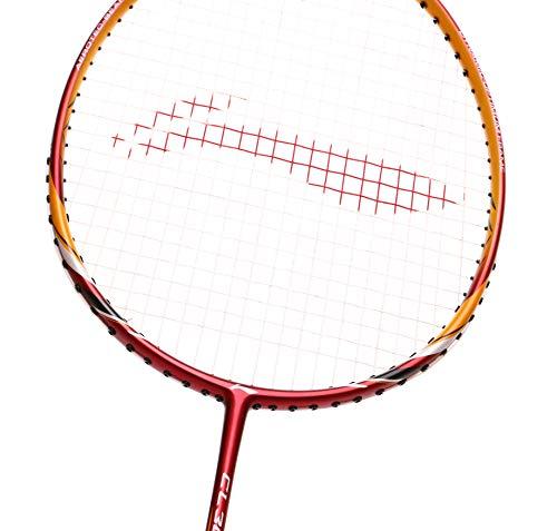 Li Ning Badmintonschläger CHEN Long Signature Series Player Edition Leichtgewicht Carbon Graphit Schaft 79 + GMS mit Tragetasche, CL 300 - Red/Yellow