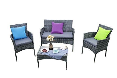 Galleria fotografica Yakoe Eton gamma esterna divano mobili da giardino in rattan, grigio, 106x 59x 48cm