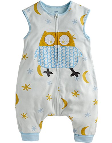 Vaenait baby 80-110 Toddler Kids Sleep and Play Blanket for Summer Sleepsack Cotton Blue Owl S