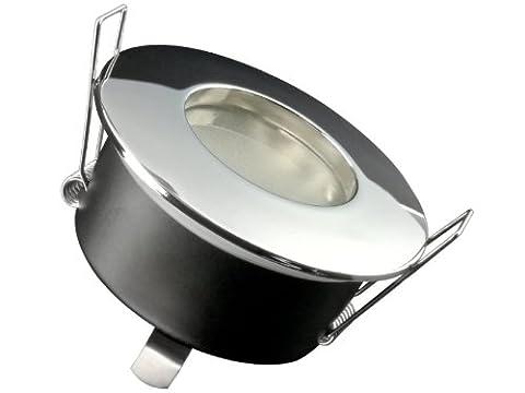 LED Einbau-Strahler für Bad, Feuchtraum IP65, [Einbau-Leuchte] RW-1 chrom rund, WARM-weiß 6W wie 50W, GU10 230V