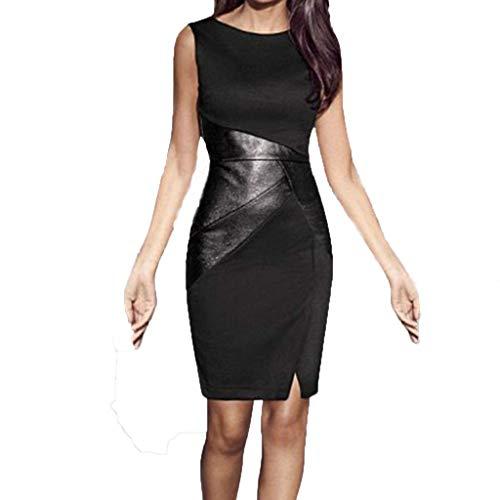 Eaylis Damen Kleid Mode Sexy Rock Slim Sexy Stitching Splits Ärmelloses Lederkleid Frauen Kleider