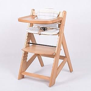 chaise haute en bois ajustable chaise b b escalier chaise haute nature hc6551 d01creme amazon. Black Bedroom Furniture Sets. Home Design Ideas