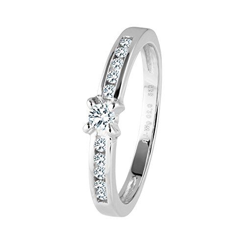 Diamond Line Diamant-Ring Damen 585 Weißgold mit 11 Brillianten 0.20 ct. Lupenrein
