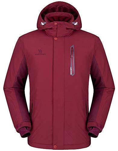 Camel crown giacca impermeabile uomo, antivento giacca da sci con cappuccio, outdoor full zip jacket con pile, giacca invernale calda per trekking viaggio lavoro pesca sports tasche multiple