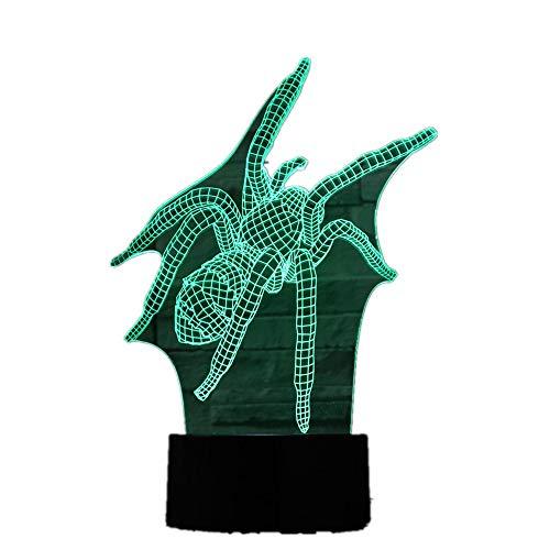 orangeww 3D Illusion Nachtlicht/Led Schreibtisch Tischlampe / 7 Farbe Touch Lampe/Geburtstagsgeschenk/Kinder Schlafzimmer Dekor/Spinne