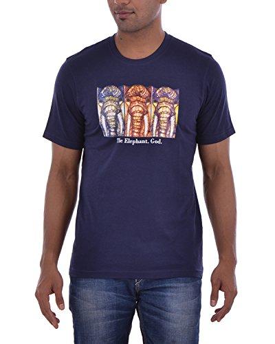 Karma Men's Casual Shirt (Godelephant, Navyblue Small)
