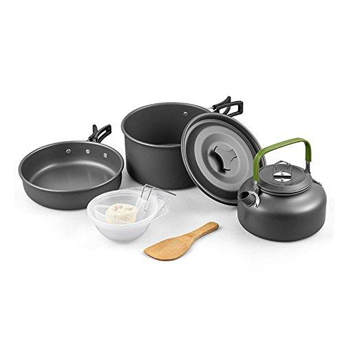 Wuudi Outdoor Tragbarer Camping Topf-Set Multifunktionales Kochen Set für Camping/Wandern/Picknick...