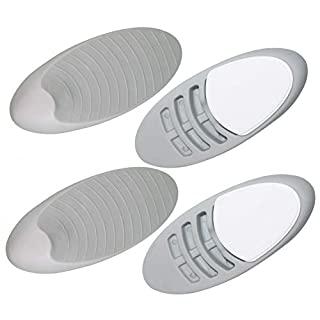 Fitliva Gray Rubber Door Stopper, Heavy Duty Wedge with Decorative Holder for Multi Surface (4 Pack Grey)
