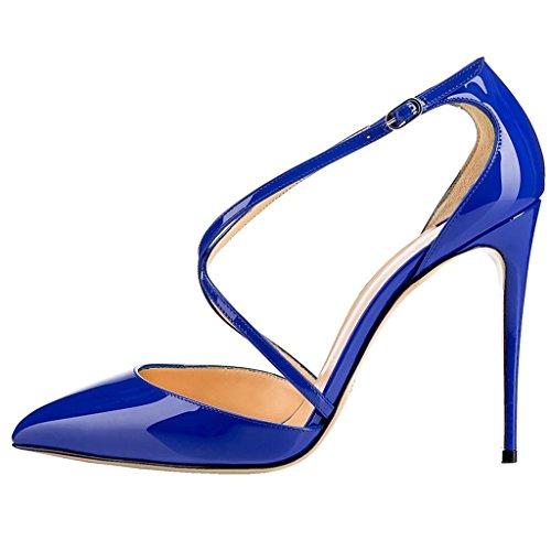 EDEFS Damen Stilettos High Heels Pumps Knöchelriemchen Spitze Zehen Übergröße Schuhe Blau