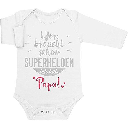 Shirtgeil Wer braucht Schon Superhelden ich hab Papa Baby Langarm Body 81/86 (12-18M) - Vater Baby Kostüm