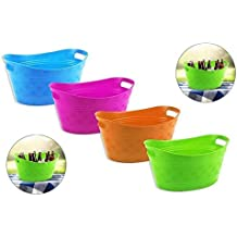 Small Plastic Bright Coloured Ice Drinks Bucket Flexi Tub Carrier Wine Beer Pop - GREEN