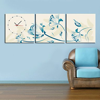 "12""-24\"" Inspirational Blue Flowers Wall Clock In Canva 3pcs - inexpensive UK light store."