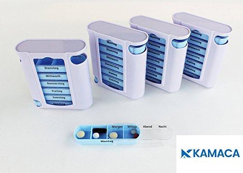 Kamaca 4 er Pack (= 4 Stück) praktischer Medikamentendosierer für Fast Einen Monat, Pillendose,Pillenbox, Tablettenbox, Wochendosierer, 28 Tage Shop